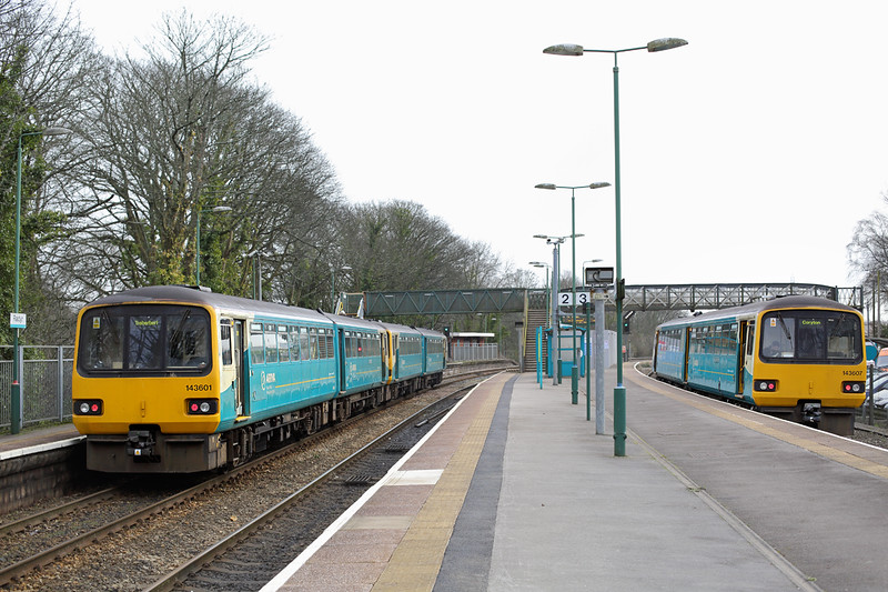143601, 143622 and 143607, Radyr 2/2/2015<br /> 143601 and 143622: 2F31 1047 Treherbet-Cardiff Central<br /> 143607: 2C21 1134 Radyr-Coryton