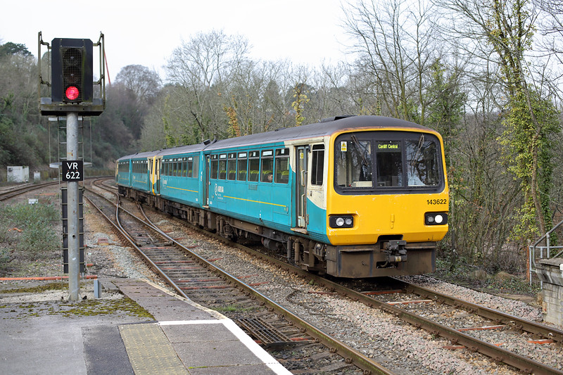 143622 and 143601, Radyr 2/2/2015<br /> 2F31 1047 Treherbet-Cardiff Central