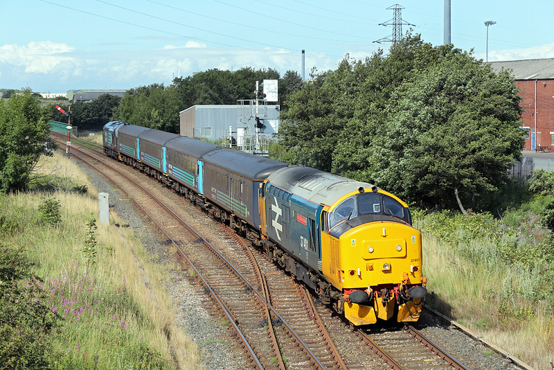 37401 and 37402, Workington 10/8/2015<br /> 2C34 1435 Carlisle-Barrow in Furness