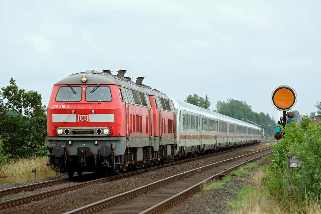 218319 and 218344, Langenhorn 13/7/2015<br /> IC2310 0638 Frankfurt (M) Hbf-Westerland