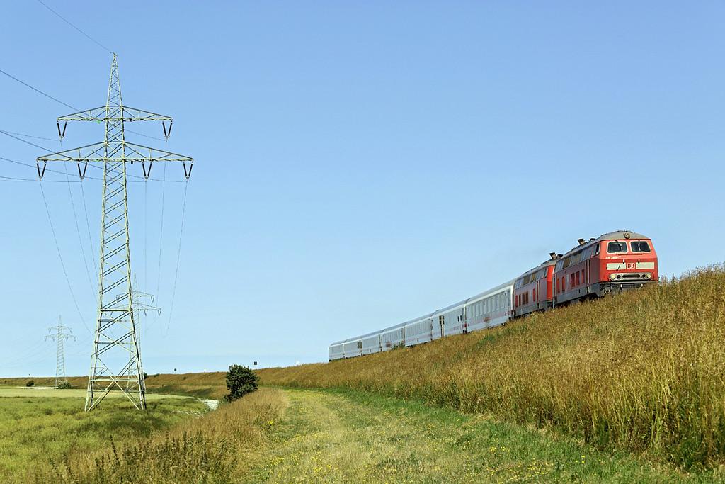 218369 and 218345, Hindenburgdamm 14/7/2015<br /> IC2375 1056 Westerland-Karlsruhe Hbf