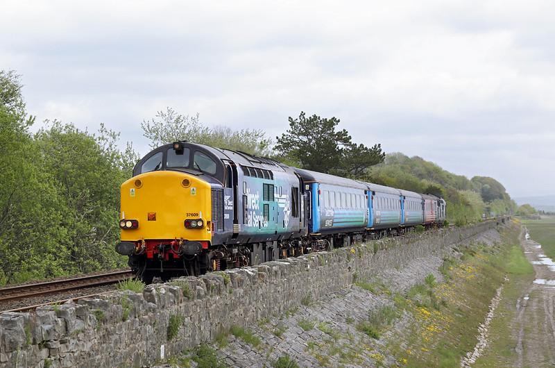 37609 and 37423, Grange-over-Sands 21/5/2015<br /> 2C47 1004 Preston-Barrow in Furness