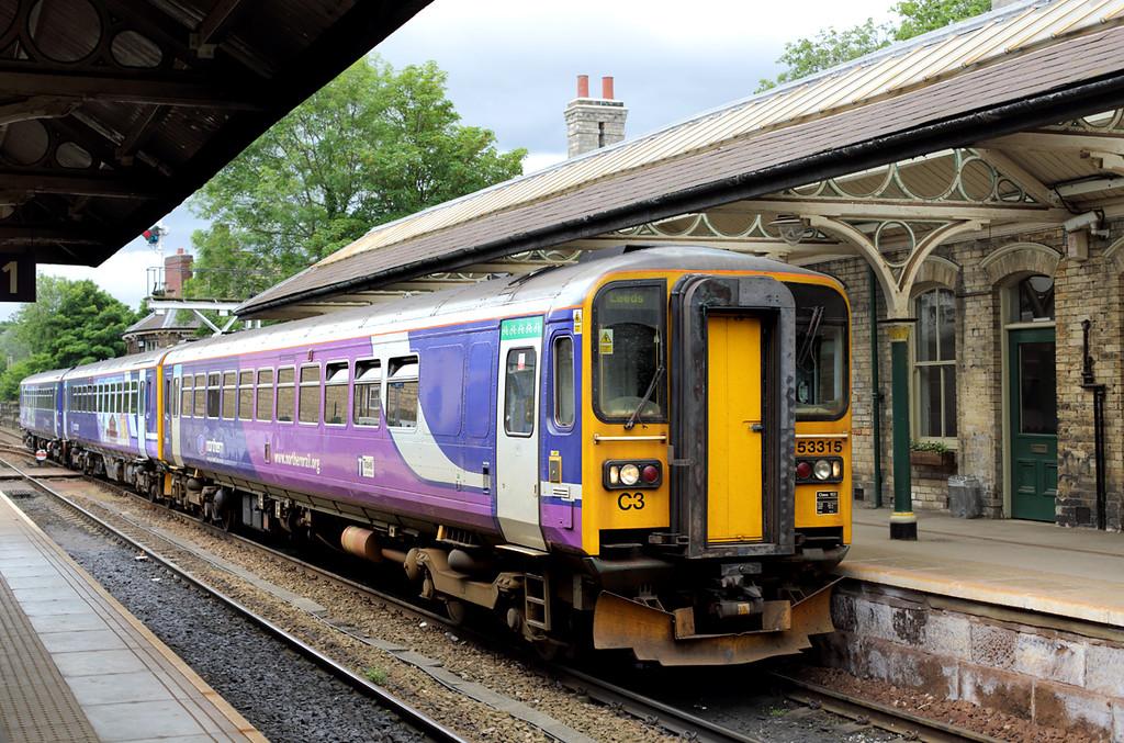 153315 and 155343, Knaresborough 22/6/2015<br /> 2C28 1159 Leeds-Knaresborough