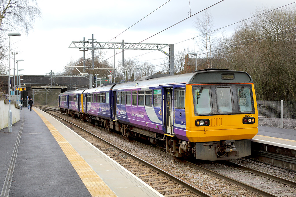142014 and 142032, Bryn 28/1/2015<br /> 2F53 1303 Wigan North Western-Liverpool Lime Street