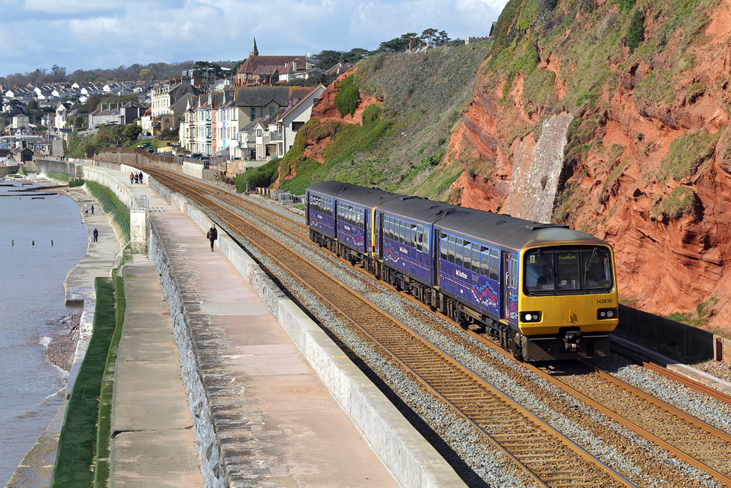 143619 and 143611, Dawlish 17/4/2016<br /> 2F04 0949 Paignton-Exmouth