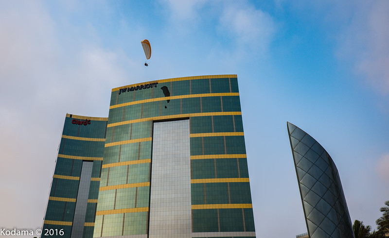 Our hotel (Marriott) in Lima and paragliders.