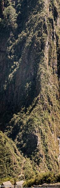 Knife-edge ridge between Machu Picchu and Huayna Picchu.