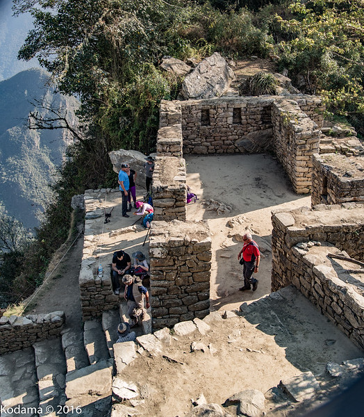 "A morning hike brought us to the Sun Gate.  Today it is the ""entrance"" to the Machu Picchu site from the hike on the Incan trail."