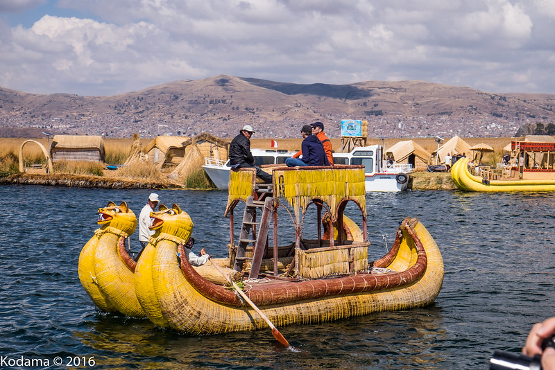 Reed boats and reed islands of Lake Titicaca.