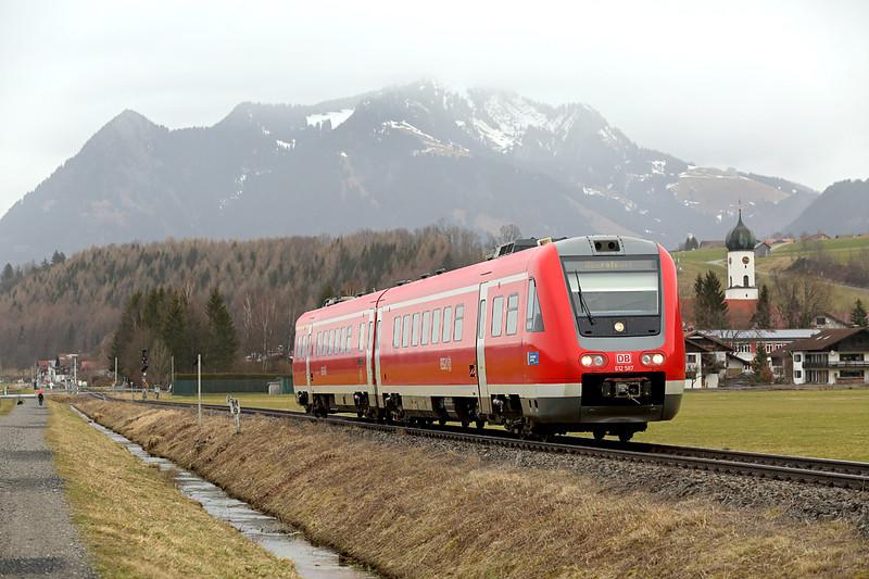 612087 Altstädten 23/2/2016<br /> RE3384 0717 Nürnberg Hbf-Oberstdorf
