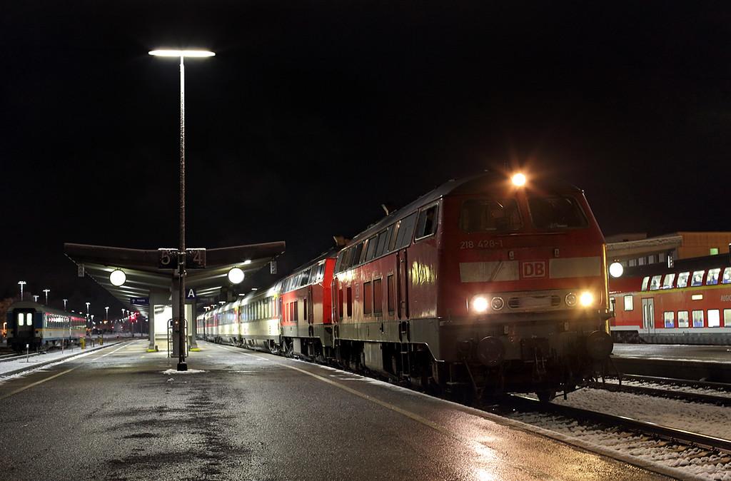 218428 and 218401, Kempten Hbf 23/2/2016<br /> EC197 1809 Zürich HB-München Hbf