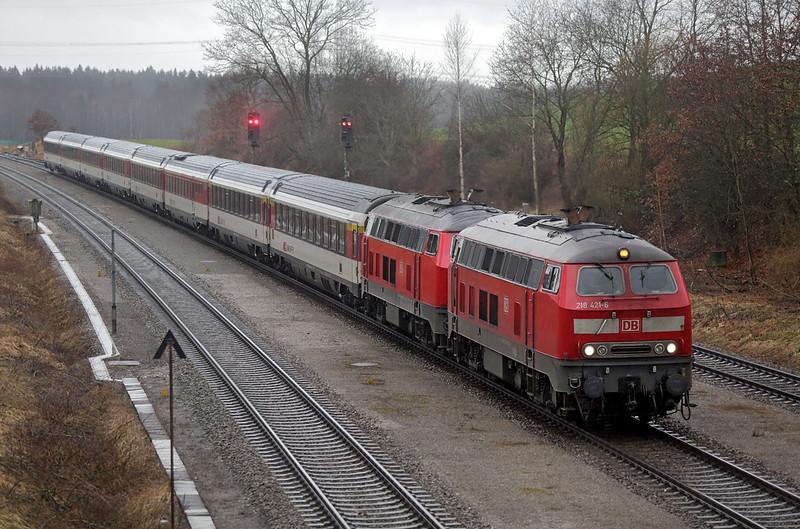 218421 and 218498, Hergatz 23/2/2016<br /> EC195 1309 Zürich HB-München Hbf