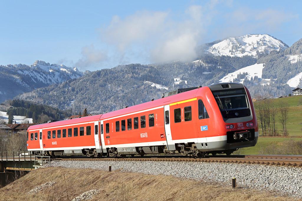 612083 Fischen 24/2/2016<br /> RE3384 0717 Nürnberg Hbf-Oberstdorf