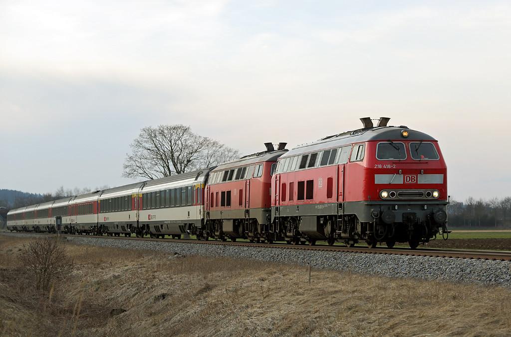 218418 and 218452, Türkheim 24/2/2016<br /> EC195 1309 Zürich HB-München Hbf