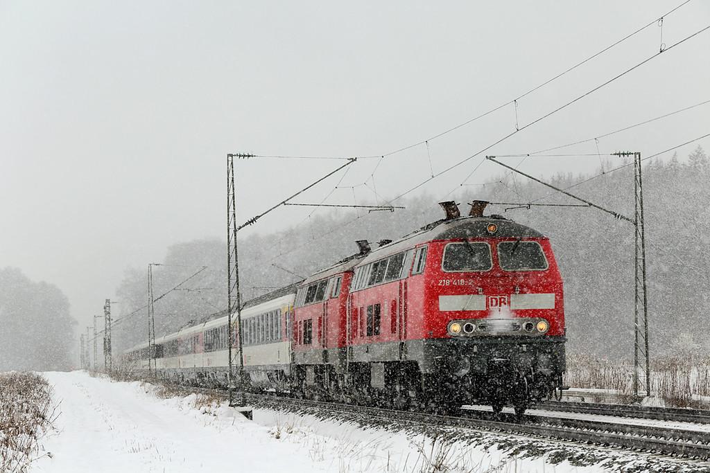 218418 and 218452, München-Aubing 25/2/2016<br /> EC191 0547 Basel SBB-München Hbf