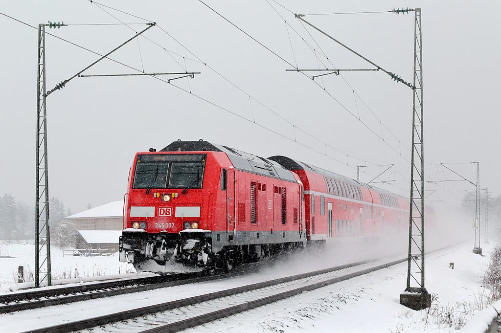 245007 München-Aubing 25/2/2016<br /> RE57408 1020 München HBf-Memmingen
