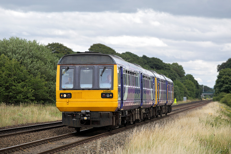 142042 and 142057, Salwick 30/7/2016<br /> 2N93 1115 Manchester Victoria-Blackpool North