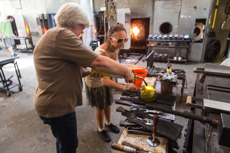 Taking a glass blowing class