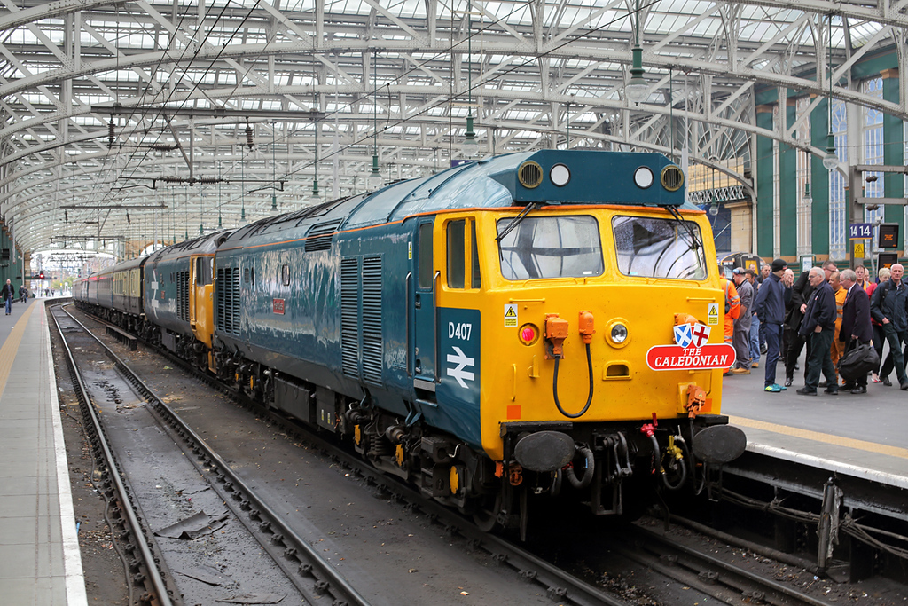 50007 and 50049, Glasgow Central 7/10/2017<br /> 1Z50 0610 London Euston-Glasgow Central