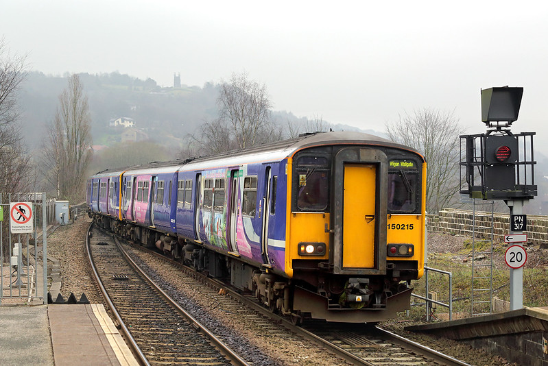 150215 and 150150, Todmorden 16/3/2017<br /> 2F89 0919 Blackburn-Wigan Wallgate