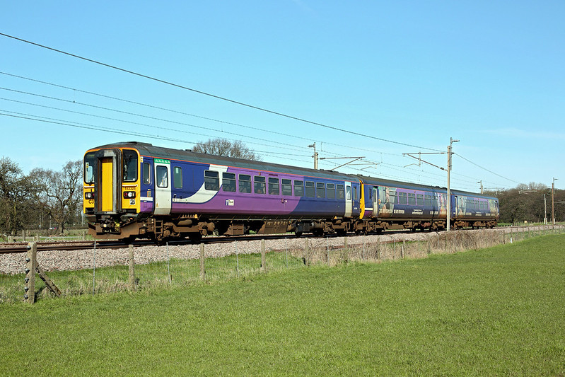 153328 and 156454, Brock 24/3/2017<br /> 1N25 0850 Barrow in Furness-Preston