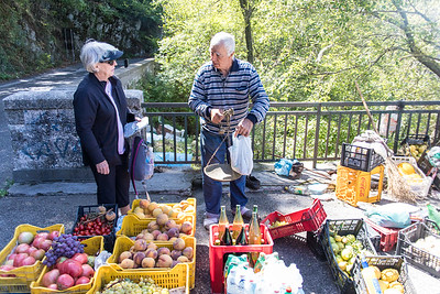Roadside vendor - Linda bought grapes, Frank bought a bottle of limoncello