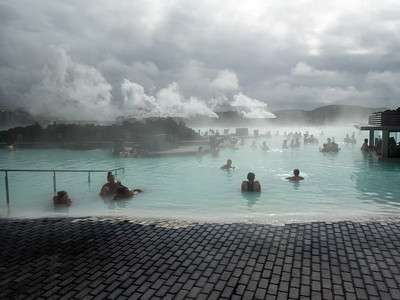 The Blue Lagoon is a geothermal spa.  It's a little weird but kind of enjoyable.  The water is 98° - 102°