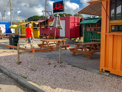The Nevis version of food trucks - converted shipping containers