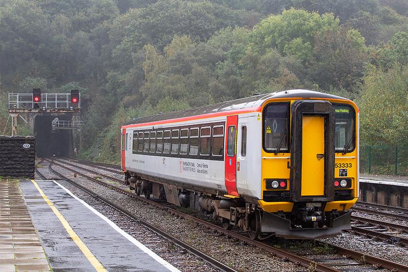 153333 Bangor 10/10/2019<br /> 5T51 1230 Llandudno Junction-Chester (via Bangor)