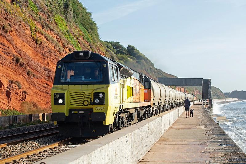 70807 and 70808, Dawlish 19/9/2019<br /> 6C35 0705 Exeter Riverside-Moorswater