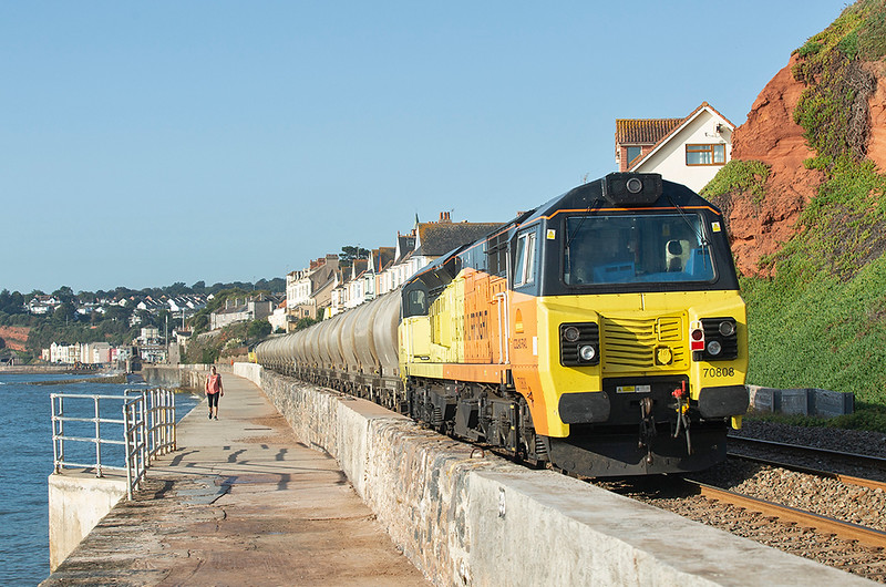 70808 and 70807, Dawlish 19/9/2019<br /> 6C35 0705 Exeter Riverside-Moorswater