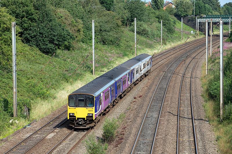 150118 and 150146, Penwortham 14/8/2020<br /> 2N16 1057 Preston-Colne