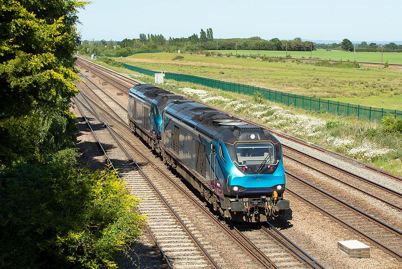 68027 and 68023, Colton Junction 29/5/2020<br /> 0Z75 1543 York-Crewe Gresty Bridge