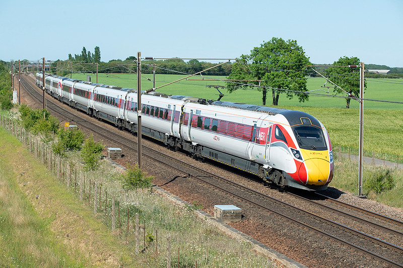 800201 and 801105, Colton Junction 29/5/2020<br /> 1Y88 1602 York-London Kings Cross