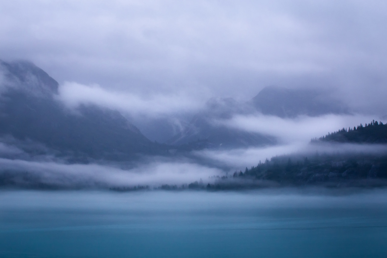 Entering a cloudy Glacier Bay National Park