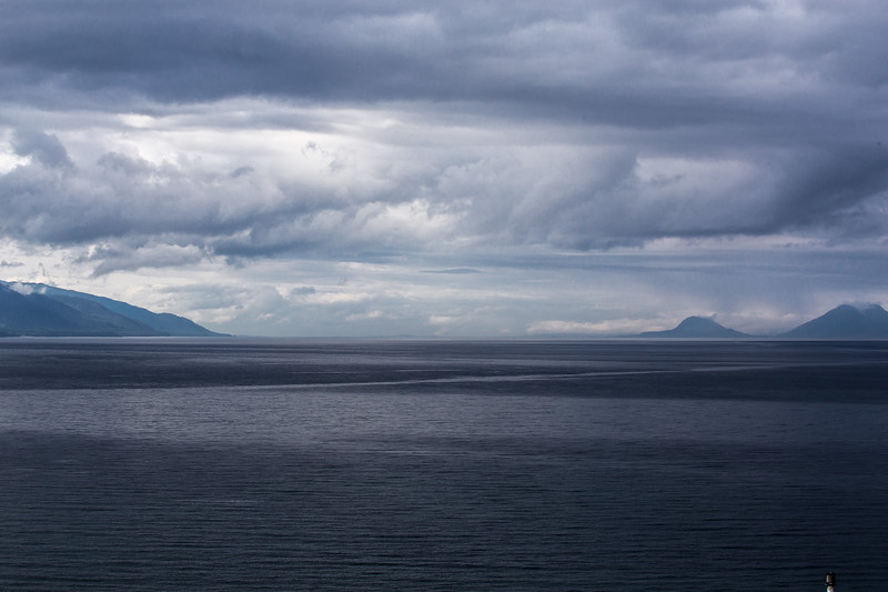 Inside Passage in Alaska on a stormy afternoon