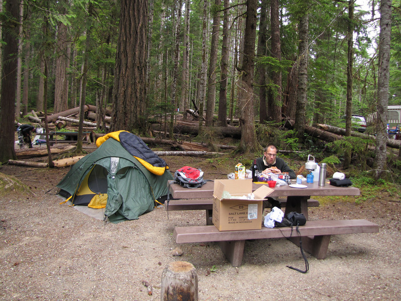 Kees Jan at diner, campground, Sequim, East of Port Angeles (road 101)