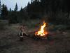 Life is easy.....resting, eating, botanising, sleeping. Camp-fire at our camp-site (near Cashmere - near Wenatchee, Washington) (Wenatchee National Forest)