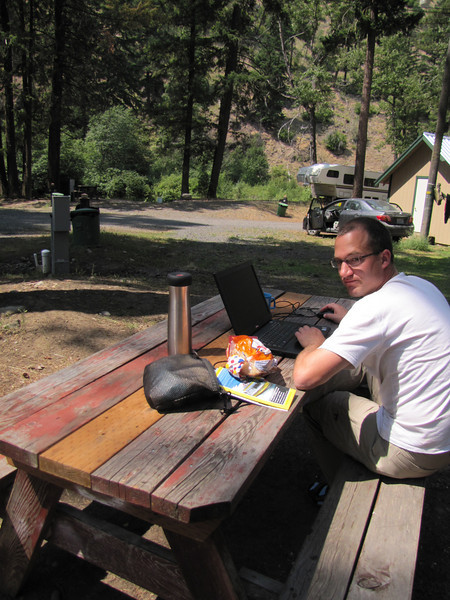 Kees Jan working on the species list, campground Squaw Rock Resort, SE of Cliffdell (road 410) Wenatchee National Forest
