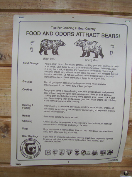Bear advice (Hidden Lake Trailhead, North Cascades National Park, Washington)
