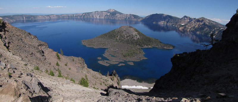 Wizard Island 2116m in Crater Lake 1882m (average surface elevation) Crater Lake National Park