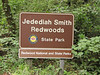 Sign of Jedediah Smith Redwoods SP, California)