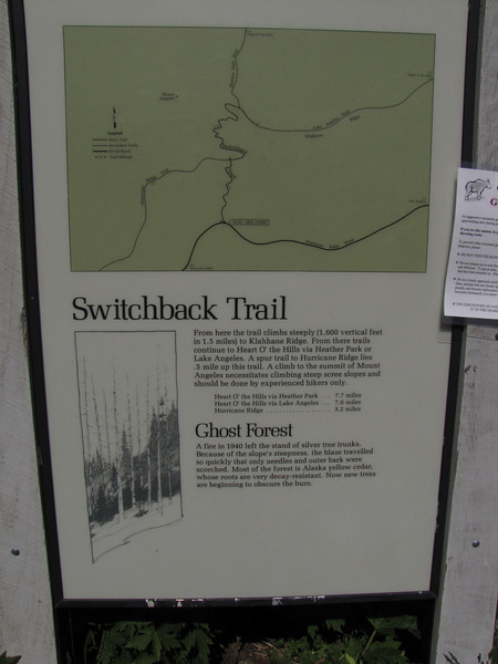 sign (near Switchback trail trailhead, Olympic National Park)