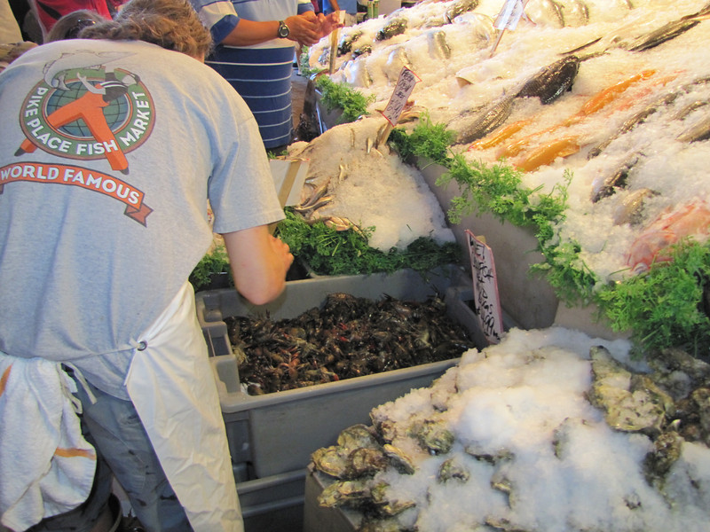 The fish-thrower of Pike Place, Fish Market, Seattle
