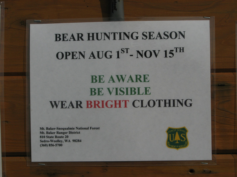 Sign at Sauk Mountain trailhead, Mount Baker-Snoqualmie Natonal Forest, Washington
