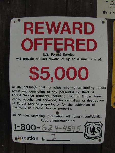 Sign, Campground Douglas Fir, Mount Baker Wilderness Area, near Canadian border