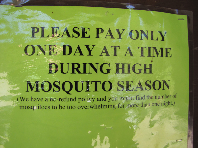 Mosquito warning, Lost Creek Campsite in Crater Lake National Park