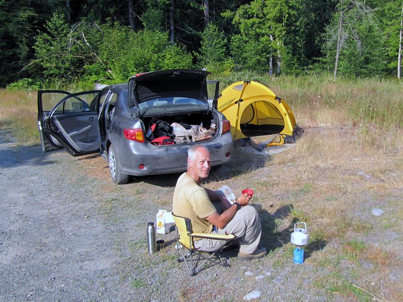camp between Ashford en Longmire, near the border of Mount Rainier National Park, Washington)