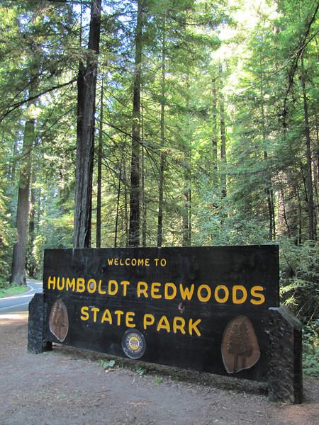 Sign of Humboldt Redwoods State Park in Redwoods National Park