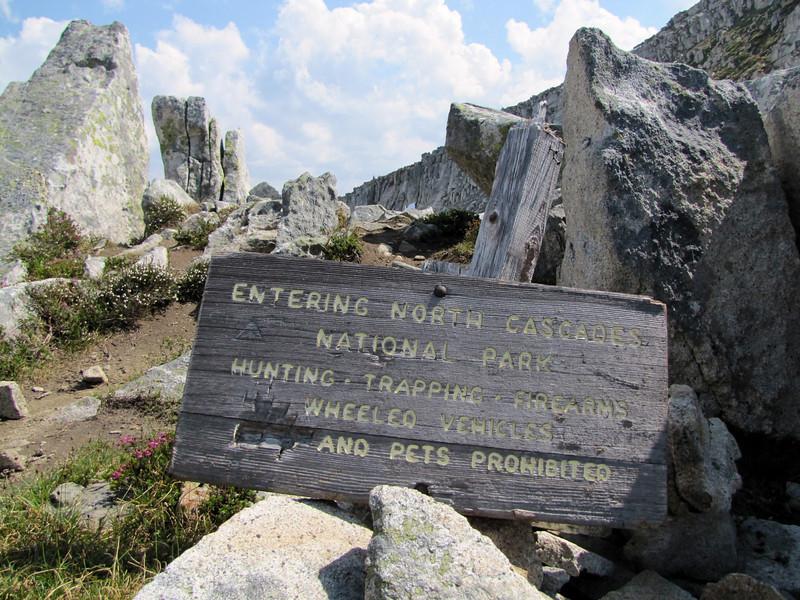 Sign near hidden lake (between Hidden Lake Trailhead and Hidden Lake, North Cascades National Park, Washington)
